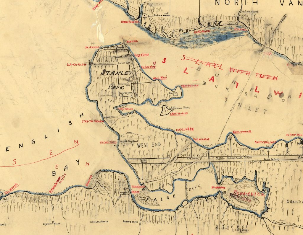 Map of Indigenous villages in Burrard Inlet - detail
